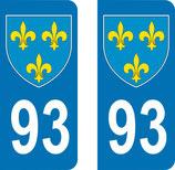 Lot de 2 Blasons Ile de France 93 Seine saint Denis