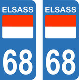 Lot de 2 stickers ELSASS N° 68