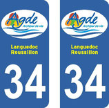Lot de 2 stickers de la ville d'Agde