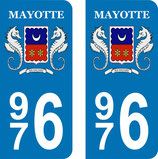 Lot de 2 stickers Ile de Mayotte 976