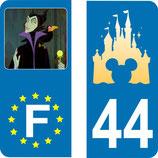 Lot de 2 stickers Maléfique europe et 2 stickers Chateau Disney et N° 44