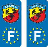 Lot de 2 adhésifs ancien logo Abarth  Europe