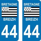 Lot de 2 adhésifs Bretagne 44 Loire Atlantique