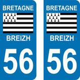 Lot de 2 adhésifs Bretagne 56 Morbihan