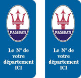 Lot de 2 stickers Maserati N° au choix.