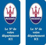 Lot de 2 stickers Maserati N° au choix.