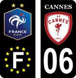 Lot de 2 stickers europe fond noir foot Français et 2 stickers AS Cannes fond noir 06