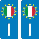 lot de 2 stickers Pays d'Europe Italie
