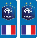Lot de 2 stickers FFF avec le drapeau france sous le logo FFF