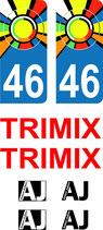 Lot de Stickers couleurs avec n° 46 , 2 textes Trimix et 4 petits logos AJ