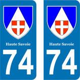 Lot de 2 Blasons Rhône Alpes 74 Haute Savoie
