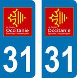 Lot de 2 adhésifs Occitanie Midi Pyrénées 31 Haute Garonne