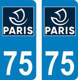 """lot de 2 stickers """" Nouveau logo """"  ville de Paris N°75"""