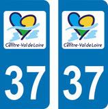 Lot de 2 stickers Centre Val de Loire 37 Indre et Loire