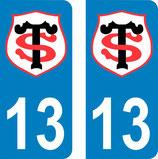 Lot de 2 stickers Stade Toulousain avec le N° 13