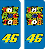 Lot de 2 stickers The Doctor et n° 46 en 110 mm