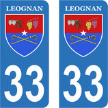 Lot de 2 stickers Ville de Leognan n° 33