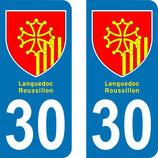Lot de 2 Blasons Languedoc Roussillon 30 Gard