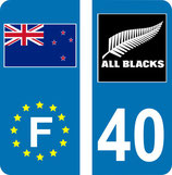 Lot de 2 stickers Europe et drapeau New Zealande et 2 stickers Fléches All Blacks n° 40