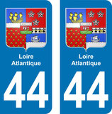 Lot de 2 stickers Blasons perso de Loire Atlantique n° 44
