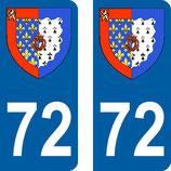 Lot de 2 Blasons Pays de Loire 72 Sarthe