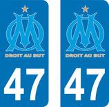 Lot de 2 stickers OM avec le N°47
