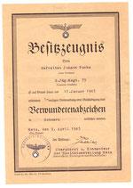 Schmuckurkunde Verwundetabzeichen  2.Jäg.Regt.75 ausgetsllt in Metz -sehr selten