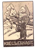 Kriegsweihnacht Luftwaffe Propagandakarte gelaufen
