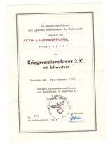 Urkunde - Seltener Vordruck für das KVK 2. Klasse mit Schwerter