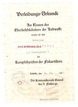 Urkunde Kampfabzeichen der Flakartillerie -selten auf Wasserzeichenpapier 2. / Flakregiment 7 Unterschrift Generalleutnant Otto Dessloch