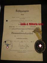 28.Jäger Division Urkunde Verwundetenabzeichen Verwundetenabzeichen Jäger Regiment 83 und Divisionsabzeichen 28 Jäger Division