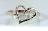 White Diamond Heart Ring