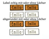 Label mit Namen