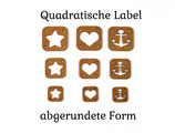 Quadratische Label abgerundet