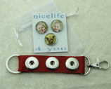 Roter Schlüsselanhänger mit Foto- Druckknöpfen