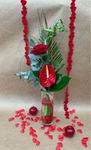 Bouquet CUPIDON et son vase cylindre