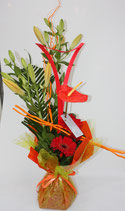 Bouquet bulle hauteur orange rouge