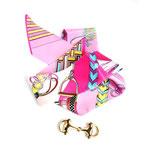 Bracelet foulard multicolore et mors doré