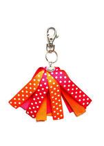 Porte-clés Froufrou orange fuchsia à pois