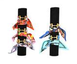 Bracelet foulard mors ruban plumes