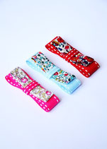 Lot de 3 barrettes ruban sellier et liberty