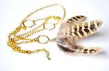 Sautoir doré plumes de faisan