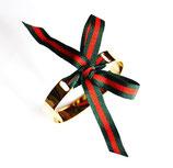 Bracelet jonc doré ruban vert et rouge