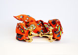 Bracelet foulard simple fleuri orange et mors doré