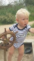 MM-002 Küstenjung maritimer Baby Body Strampler geringelt Geschenk Geburt Norddeutsch