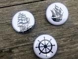 BS-001 maritimes Piraten Schiff Button Set in schwarz weiß Törn Schiff Boot