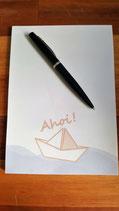 PK-005 Maritimer Notizblock A5 To Do Liste Papierschiff Schiff ahoi Geschenk für Segler