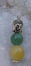 Pendentif Bouddha, aragonite & aventurine