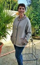 Manteau court en laine bouillie, couleur sable