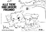 Ausmalbild - Alle Tiere sind unsere Freunde!